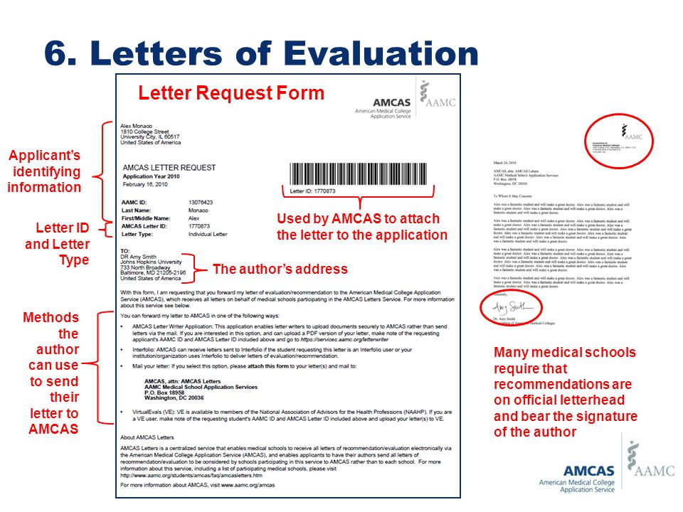 Applicant's identifying information The author's address Used by AMCAS to attach the letter to the application Methods the author can use to send their letter to AMCAS Many medical schools require that recommendations are on official letterhead and bear the signature of the author Letter Request Form Letter ID and Letter Type