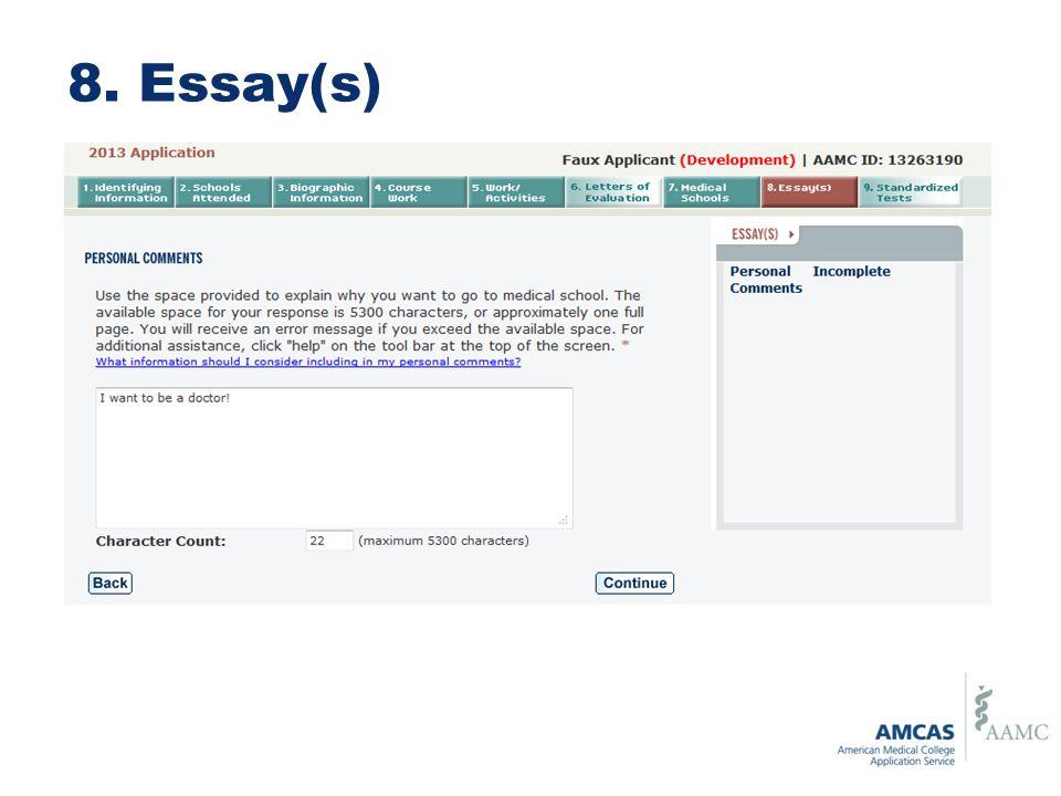 8. Essay(s)