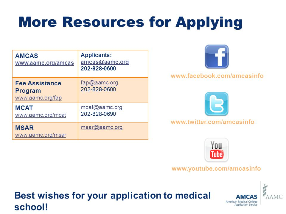 More Resources for Applying AMCAS www.aamc.org/amcas Applicants: amcas@aamc.org 202-828-0600 Fee Assistance Program www.aamc.org/fap fap@aamc.org 202-