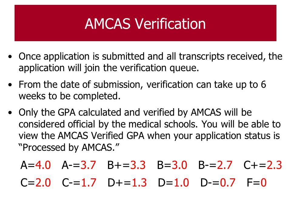 AMCAS Verification Once application is submitted and all transcripts received, the application will join the verification queue. From the date of subm
