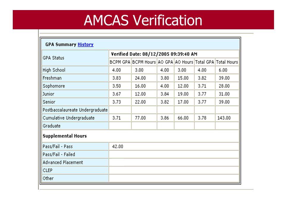 AMCAS Verification 107