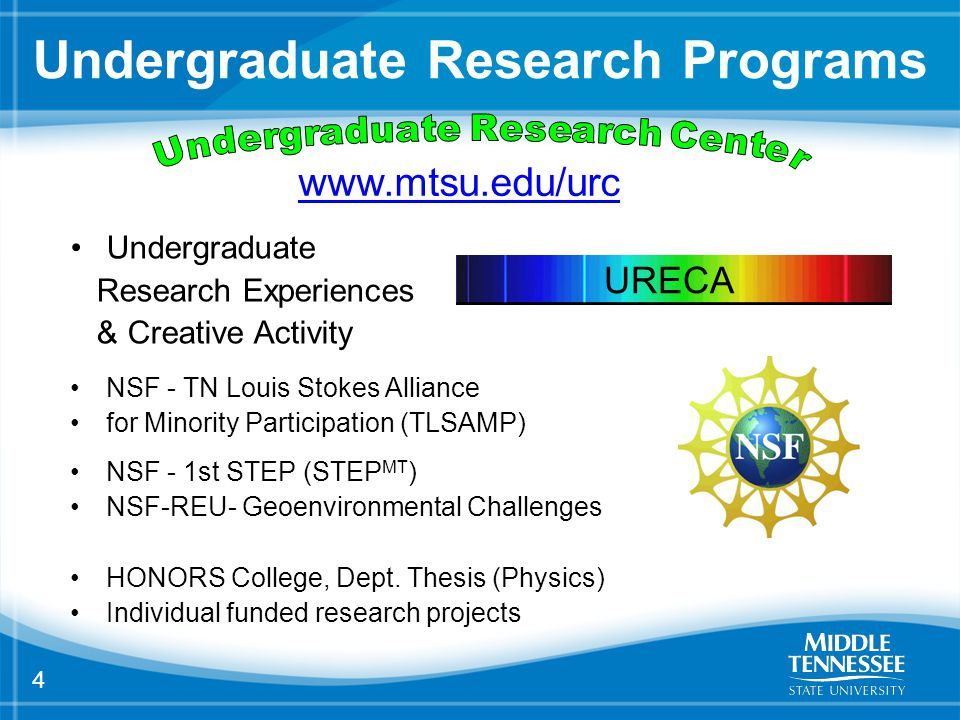 4 Undergraduate Research Programs Undergraduate Research Experiences & Creative Activity NSF - TN Louis Stokes Alliance for Minority Participation (TLSAMP) NSF - 1st STEP (STEP MT ) NSF-REU- Geoenvironmental Challenges HONORS College, Dept.