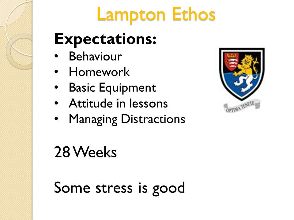 Lampton Ethos Expectations: Behaviour Homework Basic Equipment Attitude in lessons Managing Distractions 28 Weeks Some stress is good