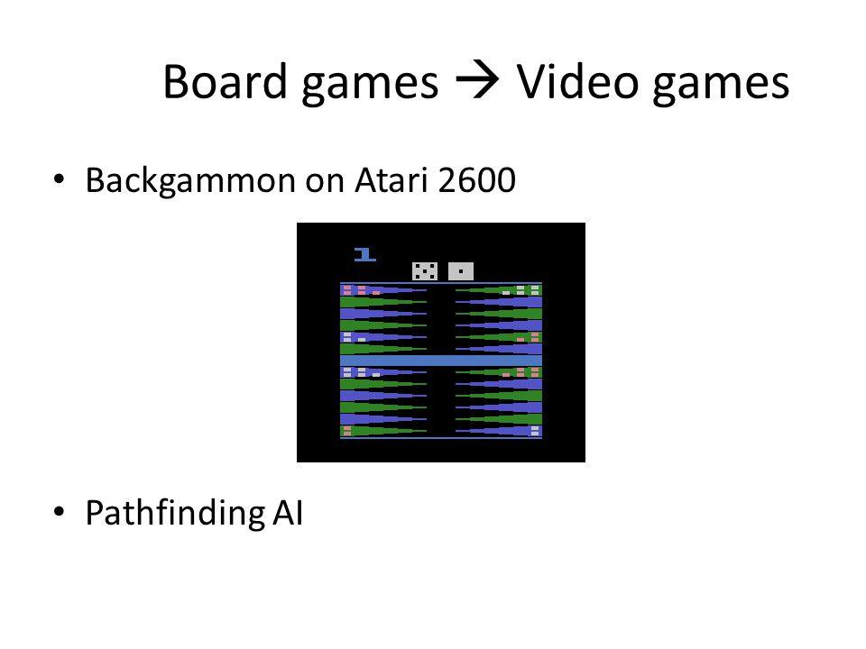 Board games  Video games Backgammon on Atari 2600 Pathfinding AI
