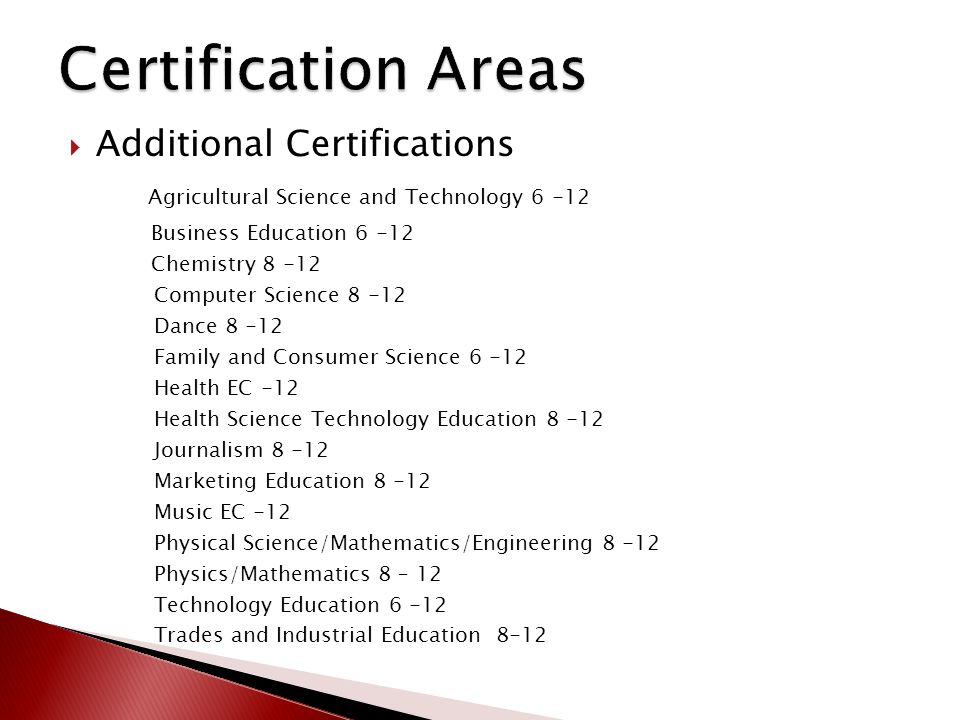  Additional Certifications Agricultural Science and Technology 6 -12 Business Education 6 -12 Chemistry 8 -12 Computer Science 8 -12 Dance 8 -12 Fami
