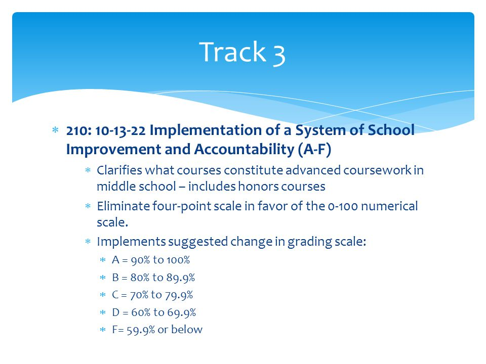  210: 10-13-22 Implementation of a System of School Improvement and Accountability (A-F)  Clarifies what courses constitute advanced coursework in middle school – includes honors courses  Eliminate four-point scale in favor of the 0-100 numerical scale.