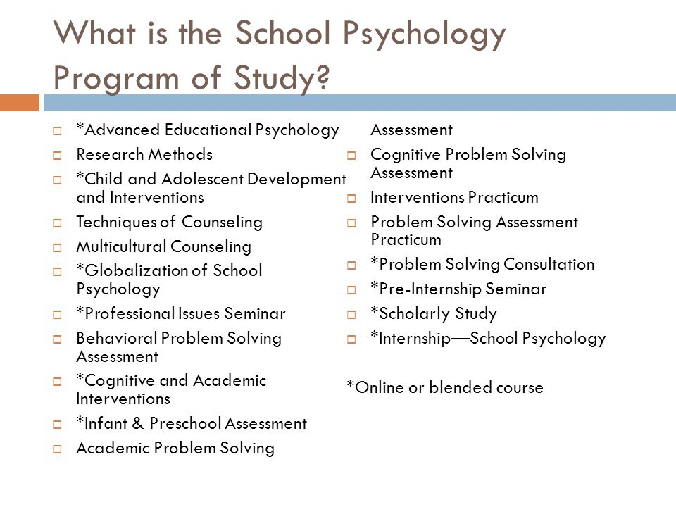 What is the School Psychology Program of Study.