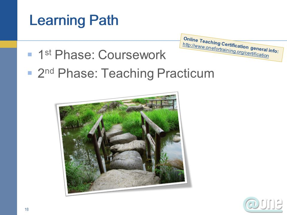  1 st Phase: Coursework  2 nd Phase: Teaching Practicum 18 Online Teaching Certification general info: http://www.onefortraining.org/certification