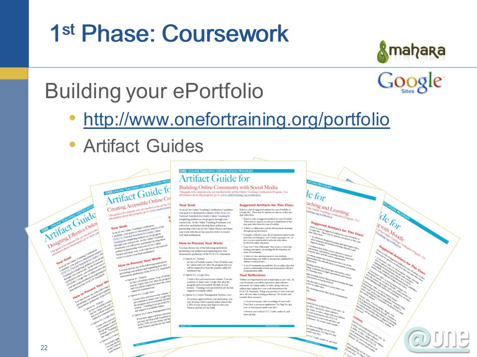Building your ePortfolio http://www.onefortraining.org/portfolio Artifact Guides 22