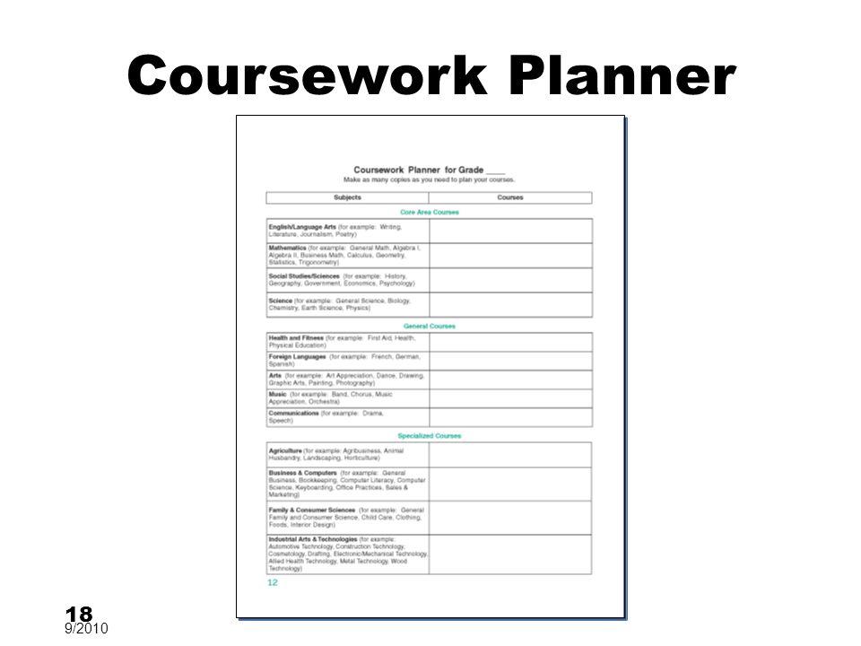 Coursework Planner 18 9/2010