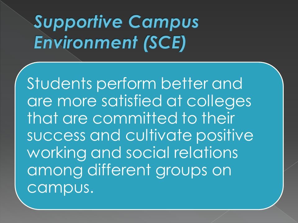 Students perform better and are more satisfied at colleges that are committed to their success and cultivate positive working and social relations among different groups on campus.