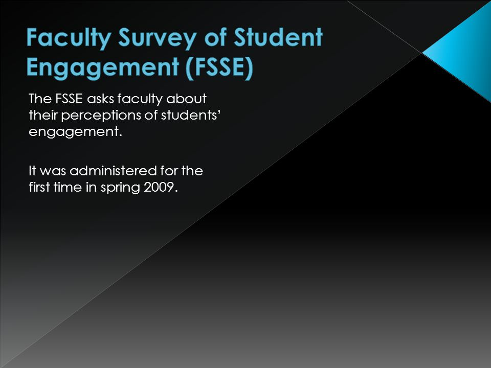 The FSSE asks faculty about their perceptions of students' engagement.