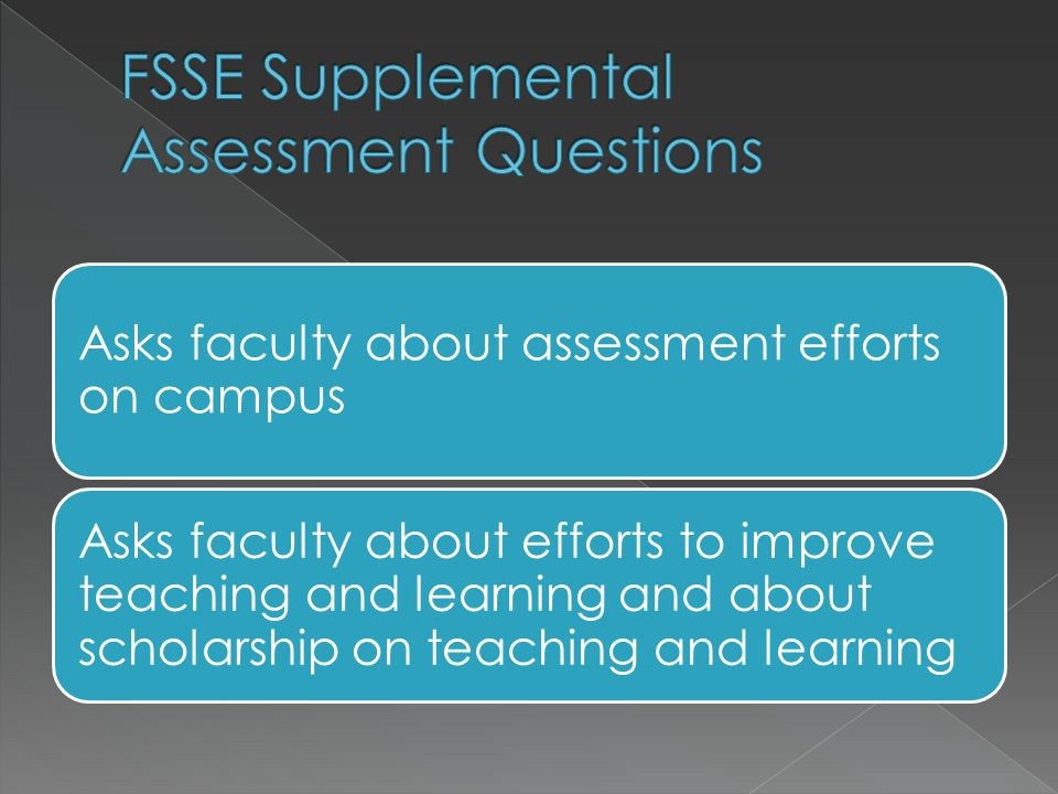 Asks faculty about assessment efforts on campus Asks faculty about efforts to improve teaching and learning and about scholarship on teaching and learning