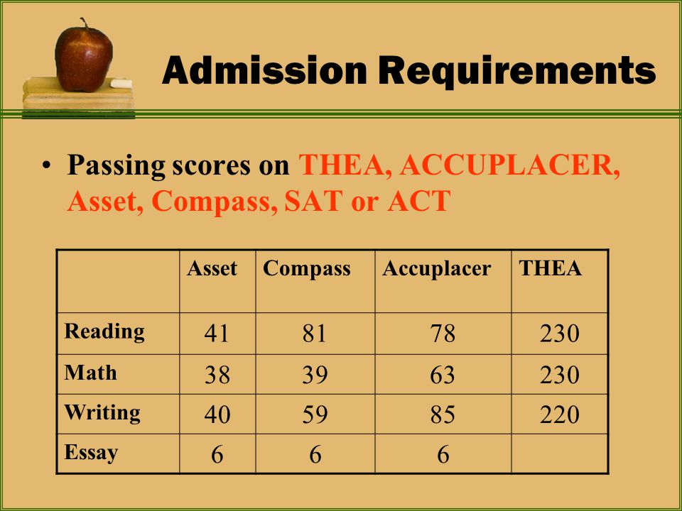 Admission Requirements Passing scores on THEA, ACCUPLACER, Asset, Compass, SAT or ACT AssetCompassAccuplacerTHEA Reading 418178230 Math 383963230 Writing 405985220 Essay 666
