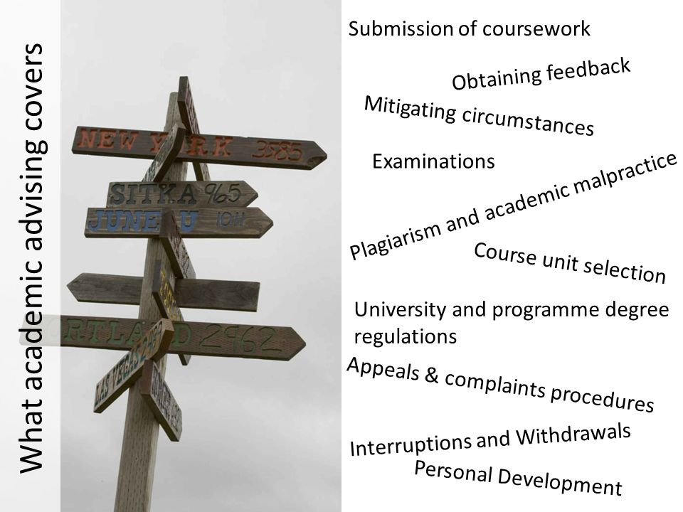 Submission of coursework Obtaining feedback Mitigating circumstances Examinations Plagiarism and academic malpractice University and programme degree regulations Appeals & complaints procedures Interruptions and Withdrawals Course unit selection Personal Development What academic advising covers