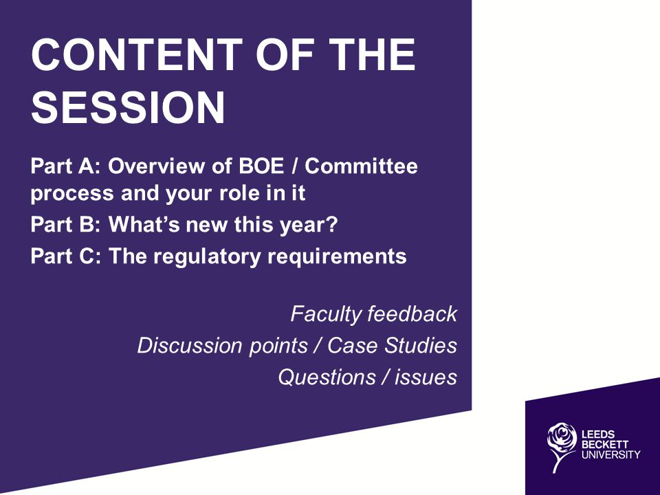 Part A: Overview of BOE / Committee process and your role in it Part B: What's new this year.