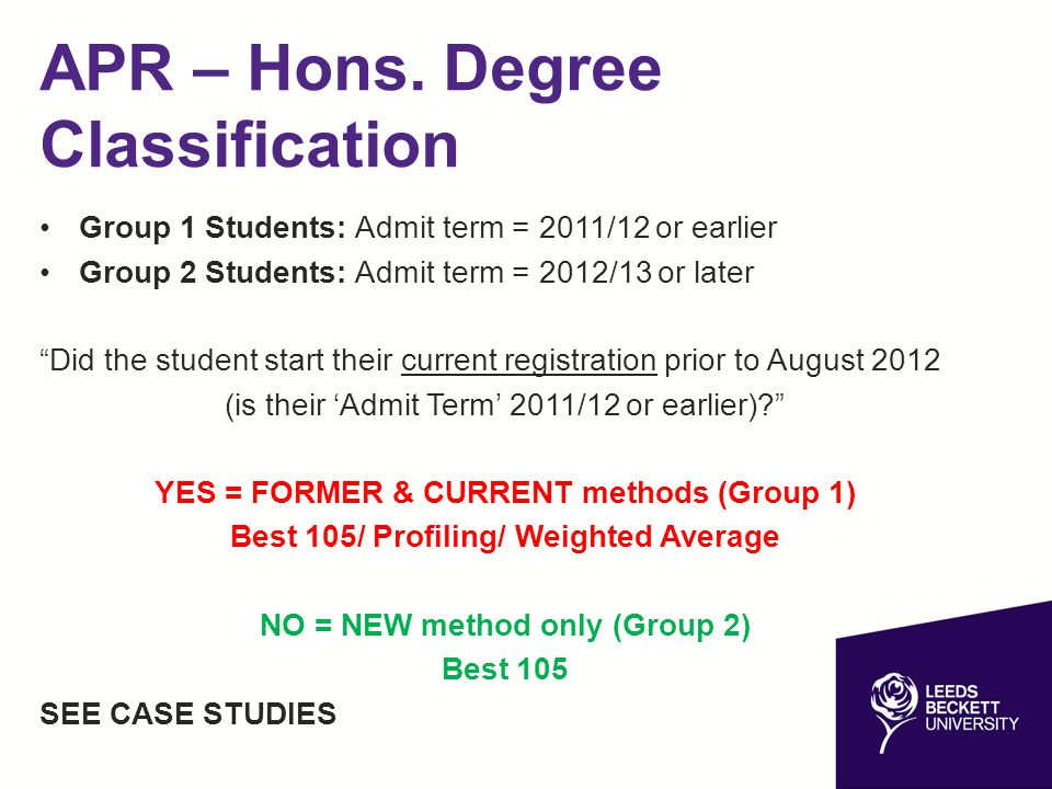 "APR – Hons. Degree Classification Group 1 Students: Admit term = 2011/12 or earlier Group 2 Students: Admit term = 2012/13 or later ""Did the student s"