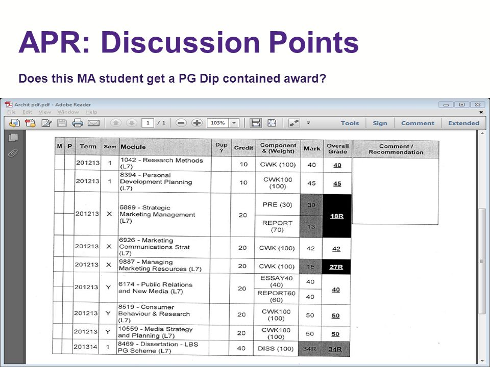 APR: Discussion Points Does this MA student get a PG Dip contained award