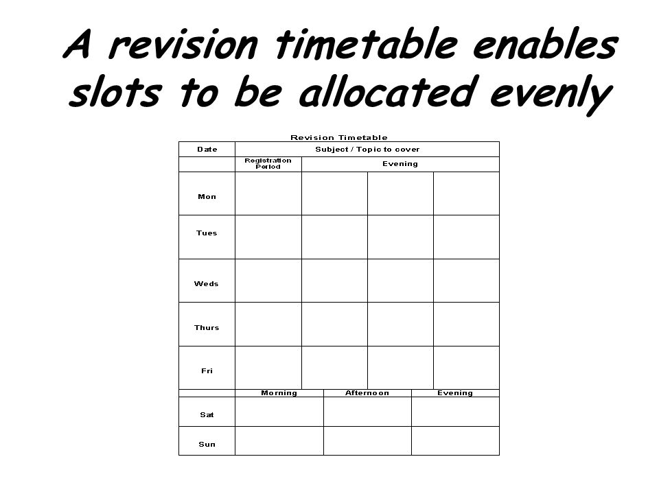 A revision timetable enables slots to be allocated evenly