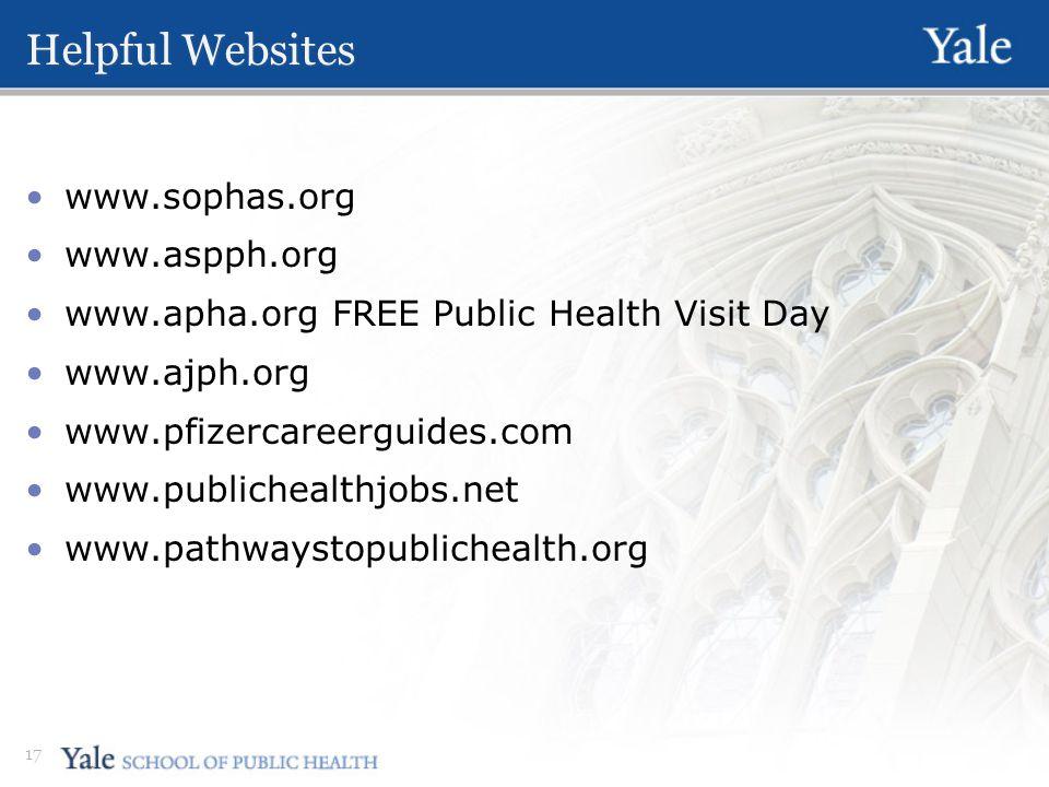 Helpful Websites www.sophas.org www.aspph.org www.apha.org FREE Public Health Visit Day www.ajph.org www.pfizercareerguides.com www.publichealthjobs.net www.pathwaystopublichealth.org 17
