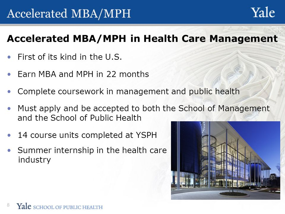 Accelerated MBA/MPH Accelerated MBA/MPH in Health Care Management First of its kind in the U.S.