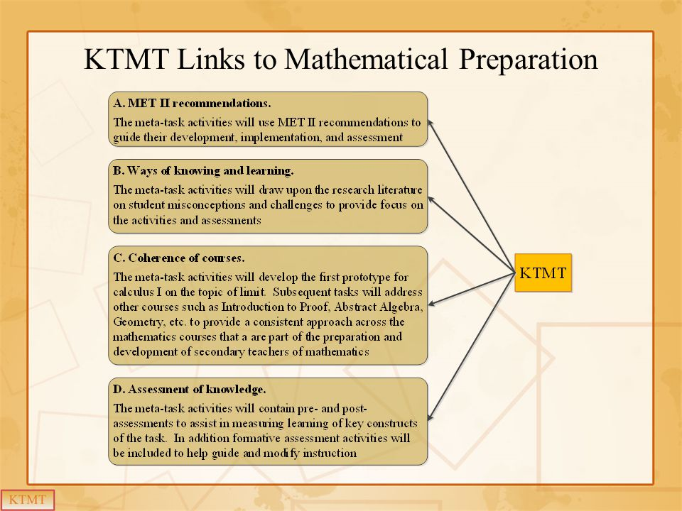 AIM Statement By December 15, 2014 the KTMT RAC will develop and validate a prototype task that focuses on documented calculus misconceptions and supports student ways of knowing mathematics as described in the PCAST and METII.