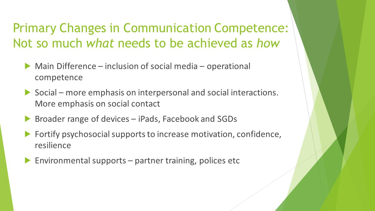 Primary Changes in Communication Competence: Not so much what needs to be achieved as how  Main Difference – inclusion of social media – operational