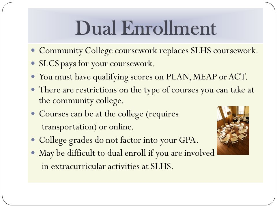 Dual Enrollment Community College coursework replaces SLHS coursework.