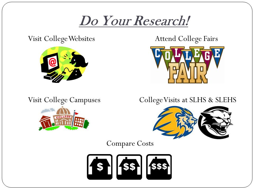Do Your Research! Visit College WebsitesAttend College Fairs Visit College Campuses College Visits at SLHS & SLEHS Compare Costs