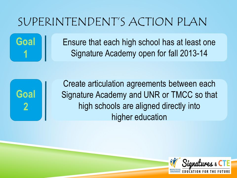 SUPERINTENDENT'S ACTION PLAN Ensure that each high school has at least one Signature Academy open for fall 2013-14 Goal 1 Create articulation agreemen