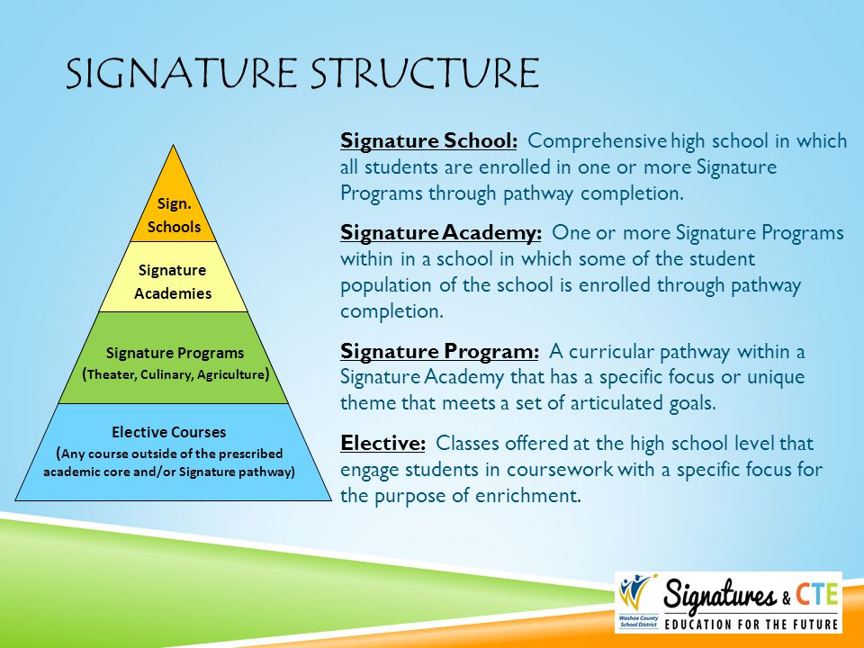 SIGNATURE STRUCTURE Elective Courses ( Any course outside of the prescribed academic core and/or Signature pathway) Signature Programs ( Theater, Culi