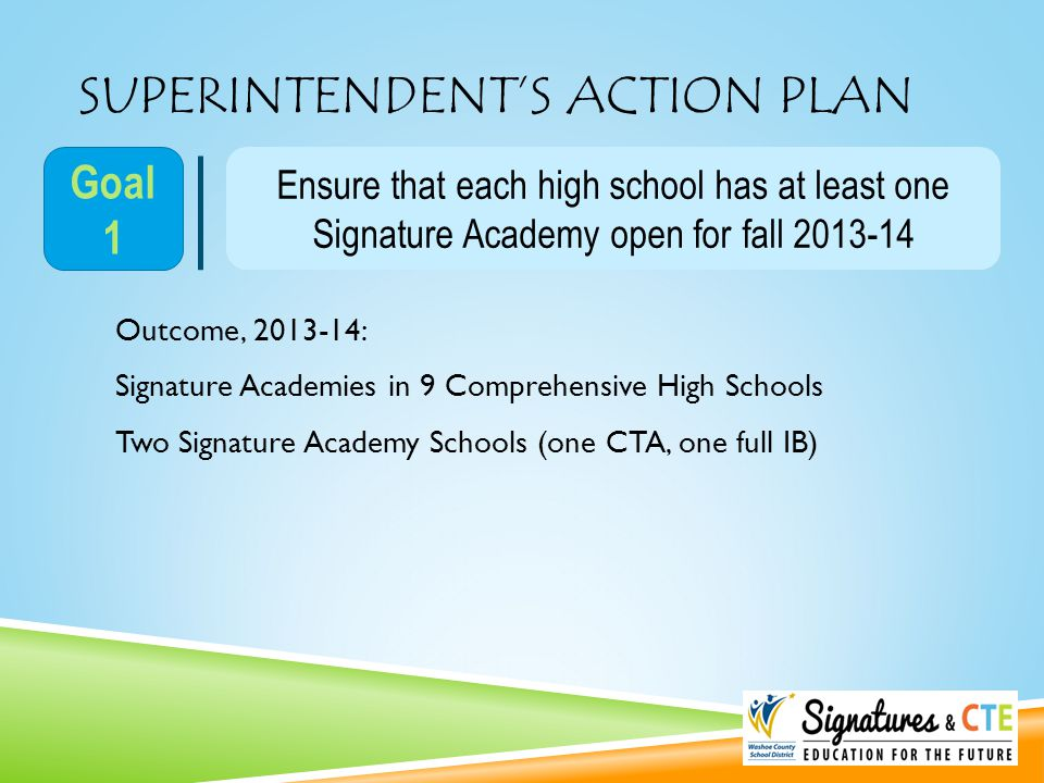 SUPERINTENDENT'S ACTION PLAN Ensure that each high school has at least one Signature Academy open for fall 2013-14 Goal 1 Outcome, 2013-14: Signature