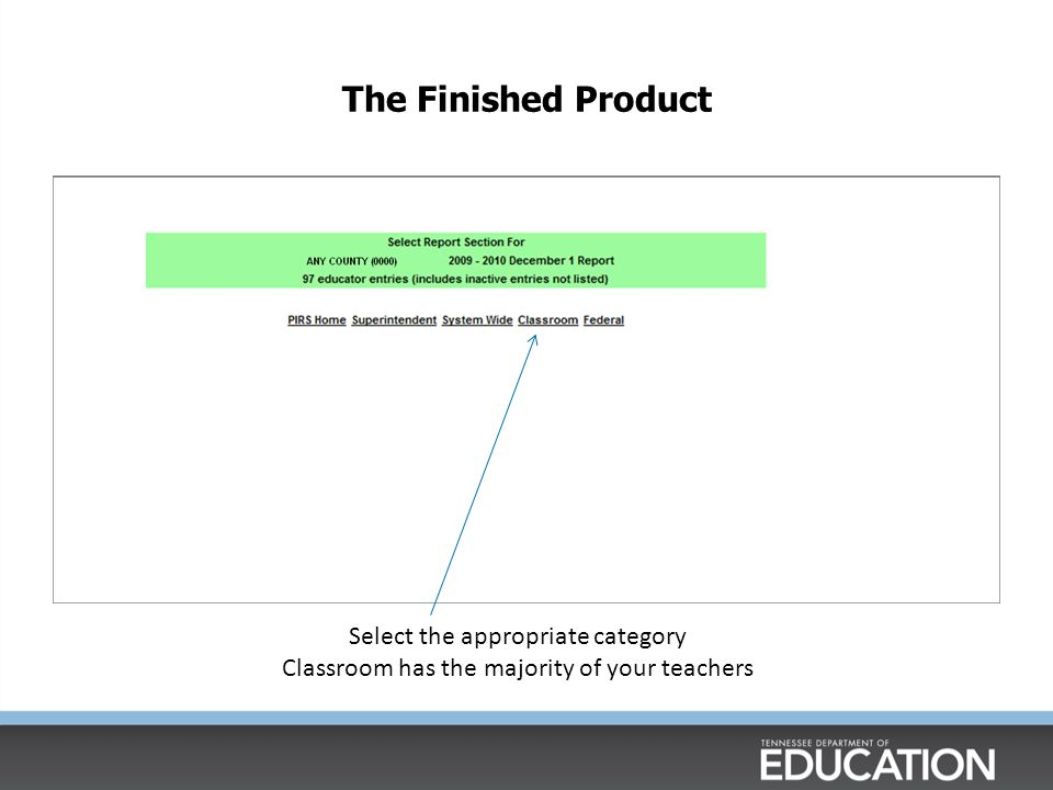 The Finished Product Select the appropriate category Classroom has the majority of your teachers