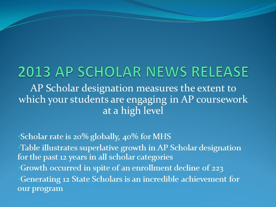 AP Scholar designation measures the extent to which your students are engaging in AP coursework at a high level Scholar rate is 20% globally, 40% for