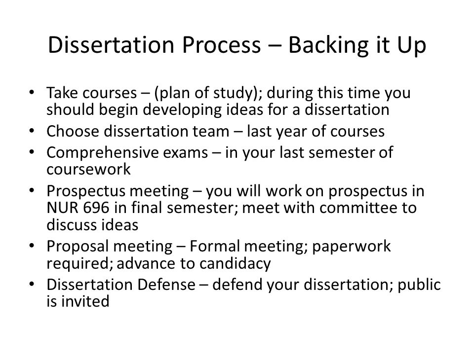 Dissertation Process – Backing it Up Take courses – (plan of study); during this time you should begin developing ideas for a dissertation Choose dissertation team – last year of courses Comprehensive exams – in your last semester of coursework Prospectus meeting – you will work on prospectus in NUR 696 in final semester; meet with committee to discuss ideas Proposal meeting – Formal meeting; paperwork required; advance to candidacy Dissertation Defense – defend your dissertation; public is invited