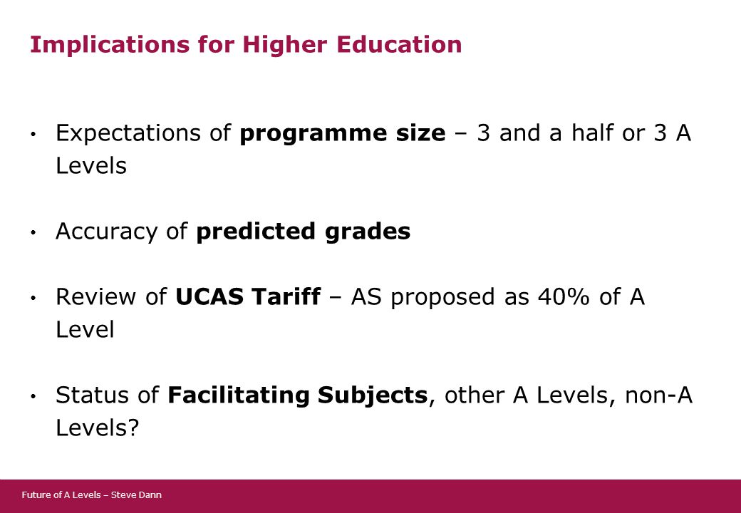 Implications for Higher Education Expectations of programme size – 3 and a half or 3 A Levels Accuracy of predicted grades Review of UCAS Tariff – AS proposed as 40% of A Level Status of Facilitating Subjects, other A Levels, non-A Levels.