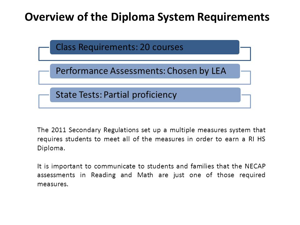 Overview of the Diploma System Requirements Class Requirements: 20 coursesPerformance Assessments: Chosen by LEAState Tests: Partial proficiency The 2011 Secondary Regulations set up a multiple measures system that requires students to meet all of the measures in order to earn a RI HS Diploma.
