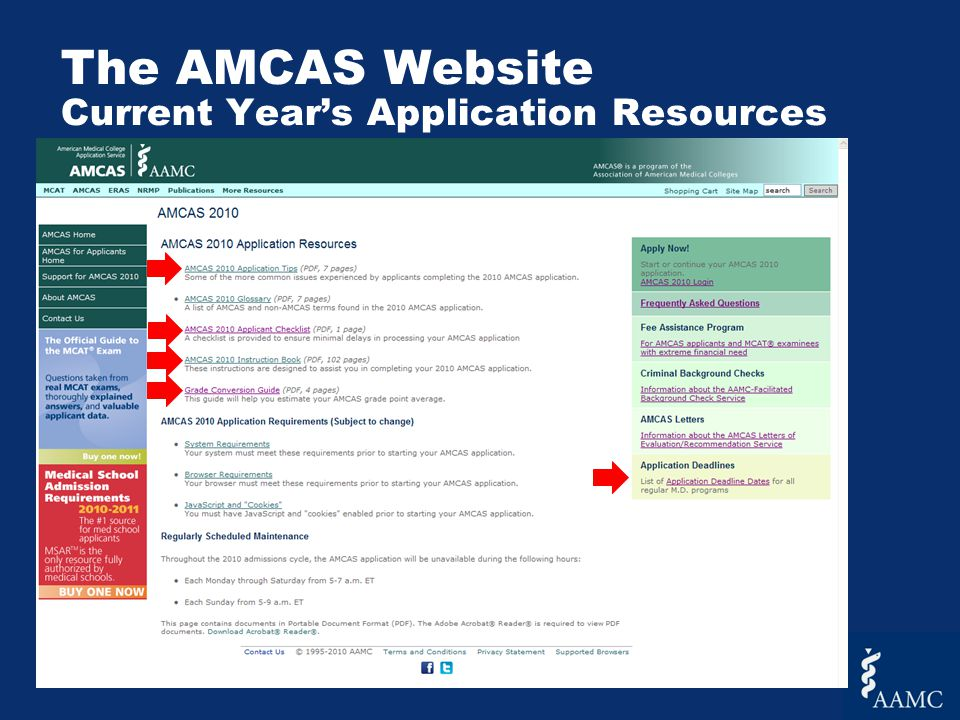 The AMCAS Website Current Year's Application Resources