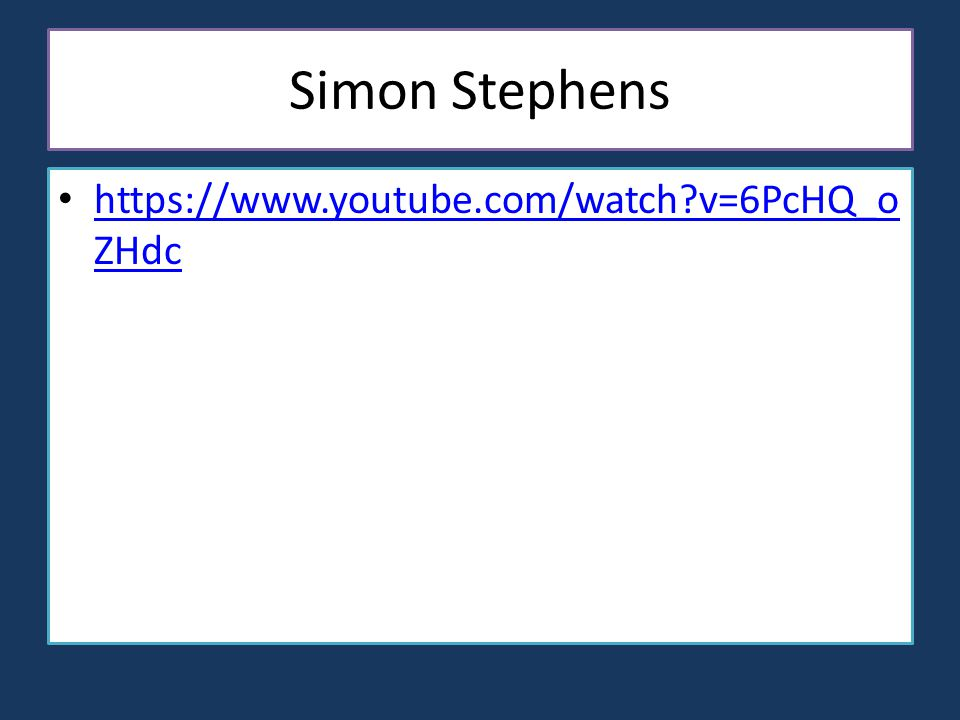Simon Stephens https://www.youtube.com/watch v=6PcHQ_o ZHdc https://www.youtube.com/watch v=6PcHQ_o ZHdc