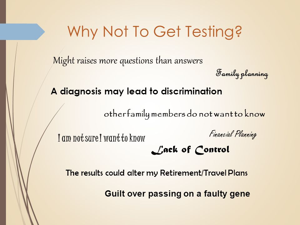 Why Not To Get Testing.