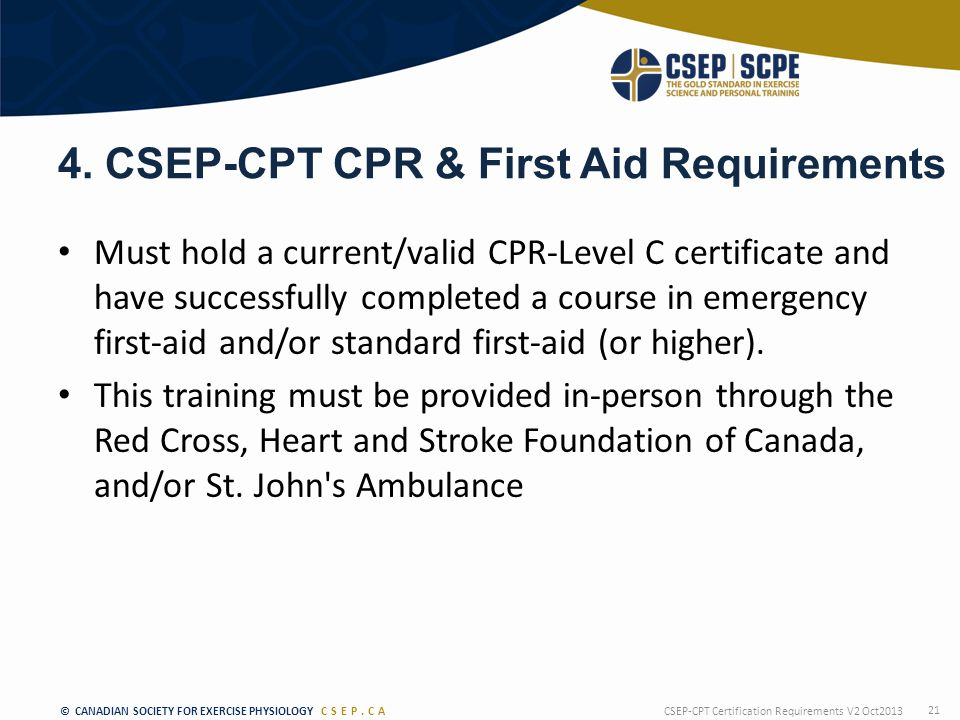 © CANADIAN SOCIETY FOR EXERCISE PHYSIOLOGY CSEP.CA 4.