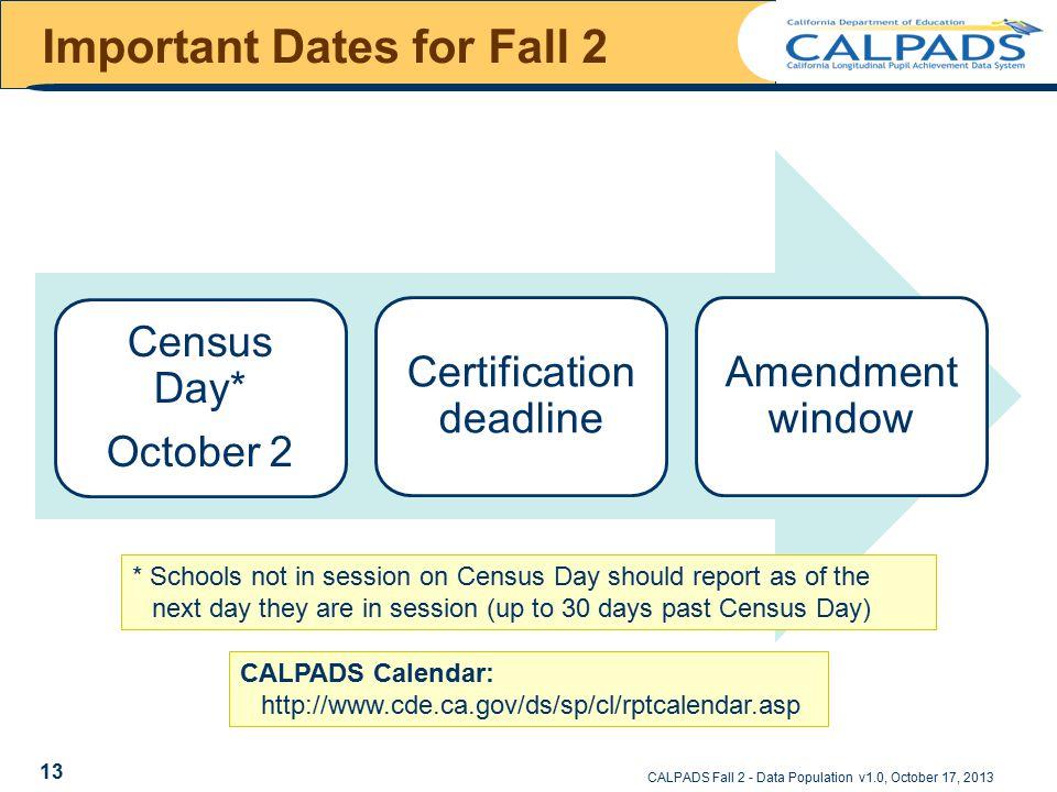 Important Dates for Fall 2 Census Day* October 2 Certification deadline Amendment window CALPADS Fall 2 - Data Population v1.0, October 17, 2013 * Sch