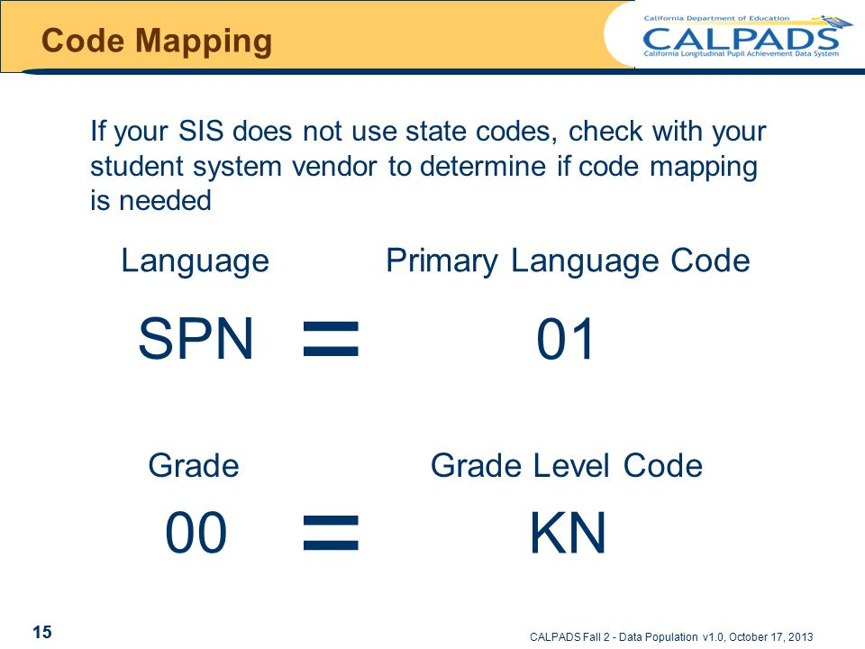 CALPADS Fall 2 - Data Population v1.0, October 17, 2013 Code Mapping 15 If your SIS does not use state codes, check with your student system vendor to determine if code mapping is needed Language = = 00 Grade SPN .
