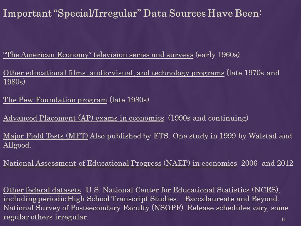 Important Special/Irregular Data Sources Have Been: The American Economy television series and surveys (early 1960s) Other educational films, audio-visual, and technology programs (late 1970s and 1980s) The Pew Foundation program (late 1980s) Advanced Placement (AP) exams in economics (1990s and continuing) Major Field Tests (MFT) Also published by ETS.