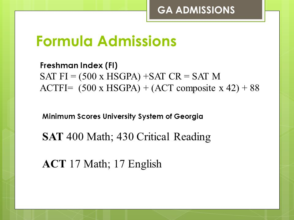 Admission Requirements (all numbers 50th percentile) Avg.