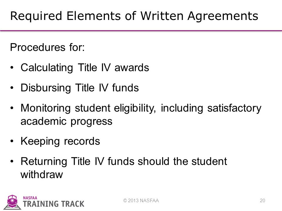 © 2013 NASFAA20 Required Elements of Written Agreements Procedures for: Calculating Title IV awards Disbursing Title IV funds Monitoring student eligibility, including satisfactory academic progress Keeping records Returning Title IV funds should the student withdraw
