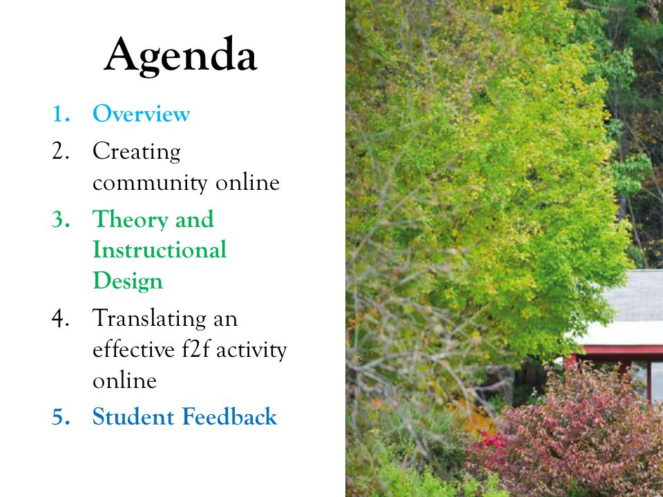 Agenda 1.Overview 2.Creating community online 3.Theory and Instructional Design 4.Translating an effective f2f activity online 5.Student Feedback
