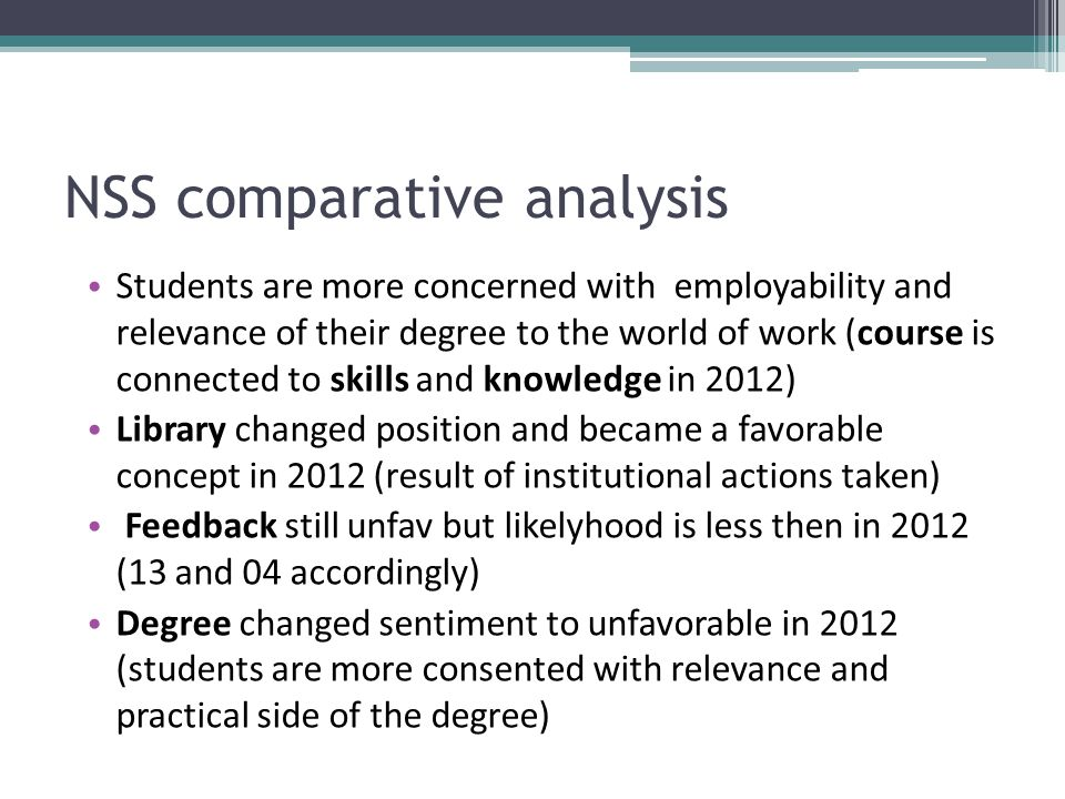 NSS comparative analysis Students are more concerned with employability and relevance of their degree to the world of work (course is connected to skills and knowledge in 2012) Library changed position and became a favorable concept in 2012 (result of institutional actions taken) Feedback still unfav but likelyhood is less then in 2012 (13 and 04 accordingly) Degree changed sentiment to unfavorable in 2012 (students are more consented with relevance and practical side of the degree)