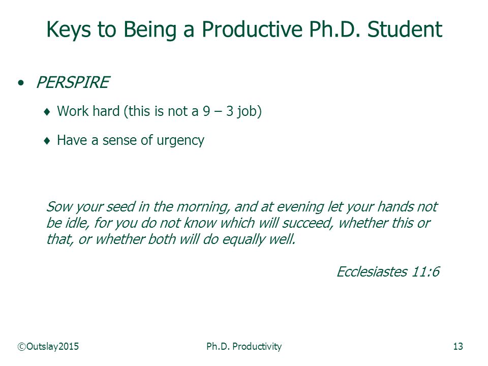 ©Outslay2015Ph.D. Productivity13 PERSPIRE  Work hard (this is not a 9 – 3 job)  Have a sense of urgency Keys to Being a Productive Ph.D. Student Sow