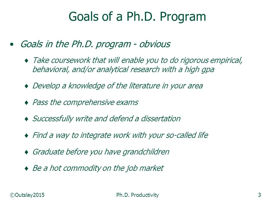 ©Outslay2015Ph.D. Productivity3 Goals in the Ph.D.